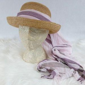 Straw Sun Hat w/ Lavender Scarf Tie Wrap